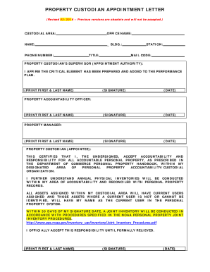 appointment letter as a property custodian form