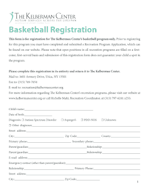 Free Basketball Registration Form Template. Basketball Registration    Kelberman Center  Paper Registration Form Template