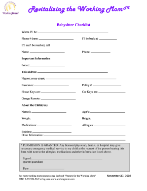 babysitting forms for babysitters to fill out