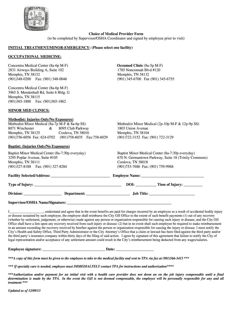Choice of Medical Provider Form4 - memphistngov Fill Online