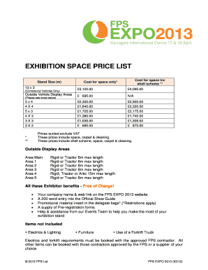 Printable carpet cleaning prices list form templates to submit in this form is for booking your floor space which includes carpet but not a shell scheme pronofoot35fo Images