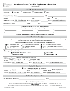 Fillable Online Oklahoma SoonerCare EDI Application