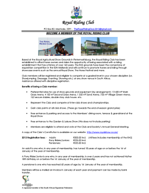 Royal Riding Club Introduction and Application Formdoc
