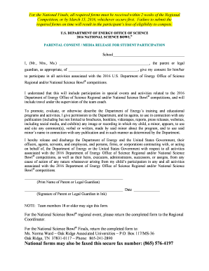 Parental Consent Media Release Form - Office of Science - science energy