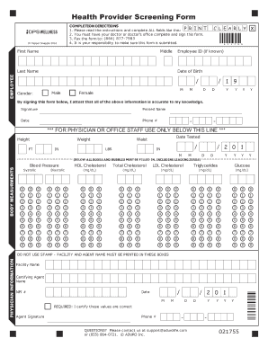 Fillable Online Health Provider Screening Form - DPS Wellness Fax ...
