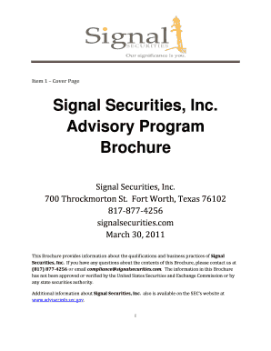Signal Securities Form Adv Part 2 Brochure 6-9-2011doc