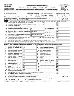 2014 Schedule F Form 1040 - Internal Revenue Service - irs