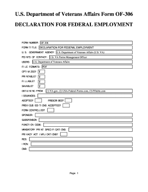 Fillable Online Us Department Of Veterans Affairs Form Of 306