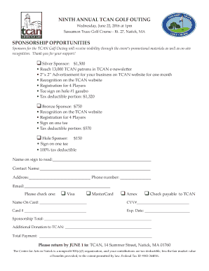 Thank you letter for sponsorship annual dinner forms and templates ninth annual tcan golf outing natickartsorg thecheapjerseys Image collections