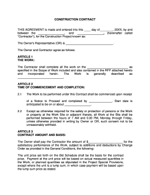 27 printable sample construction contract forms and templates