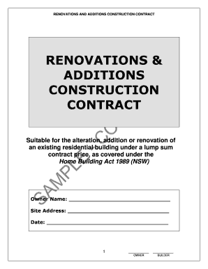 RENOVATIONS amp ADDITIONS CONSTRUCTION CONTRACT