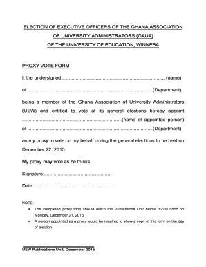 Fillable Online uew edu GAUA Elections Proxy form - uew edu