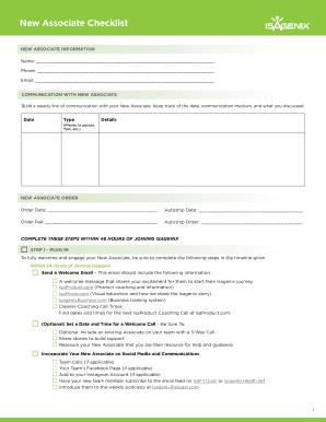Fillable Online New Associate Checklist Isagenix International Fax