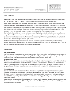 Editable cover letter for debt collector resume - Fillable ...