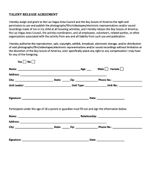 Printable talent release agreement - Edit, Fill Out