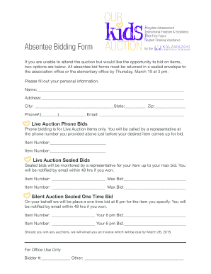 fillable online kcsa kidebt free future s absentee bidding form
