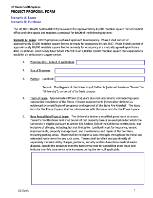 UC Davis Health System PROJECT PROPOSAL FORM - dcm ucdavis