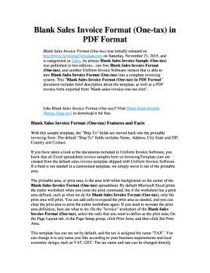 Blank Sales Invoice Format One-tax in PDF Format