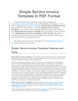 Simple Service Invoice Template in PDF Format