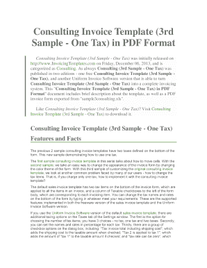 Consulting Invoice Template 3rd Sample - One Tax in PDF