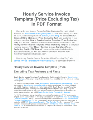 Hourly Service Invoice Template Price Excluding Tax in