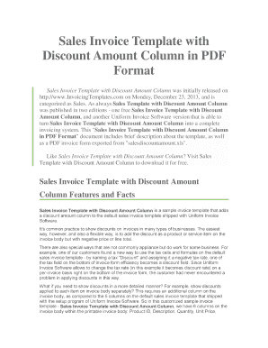 Sales Invoice Template with Discount Amount Column in PDF