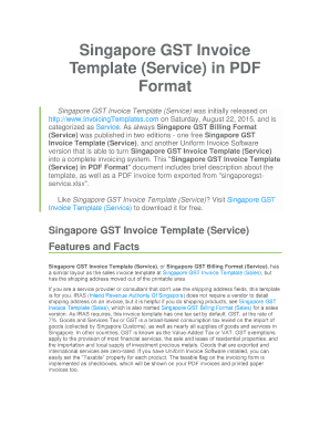 Singapore GST Invoice Template Service In PDF Format  Invoice Template Singapore