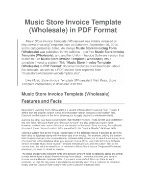 Music Store Invoice Template Wholesale in PDF Format