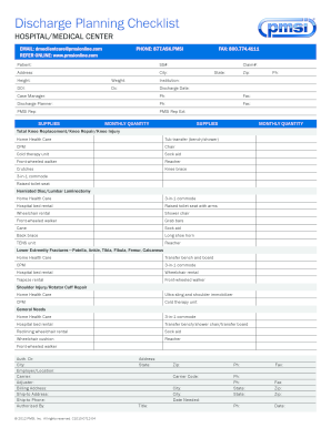 Fillable Online Discharge Planning Checklist - MyClaimsKit