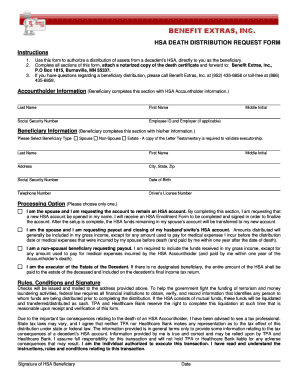 HSA DEATH DISTRIBUTION REQUEST FORM