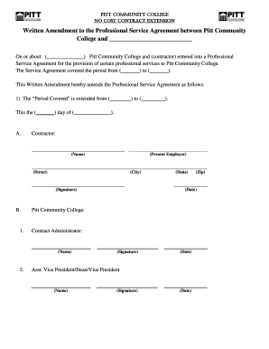 Fillable Online Pittcc Pcc No Cost Contract Extension Template