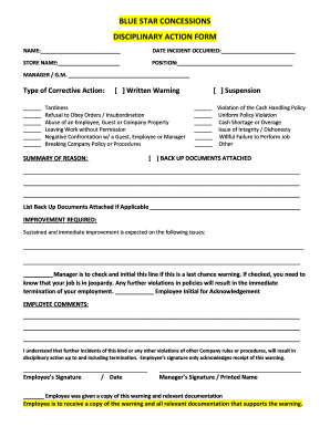 fillable online blue star new corrective action form 042015 fax