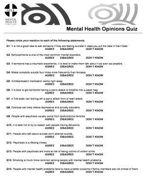 Fillable Online Mental Health Opinions Quiz Fax Email Print