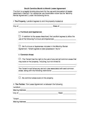 Printable Month To Month Rental Agreement Form Fill Out