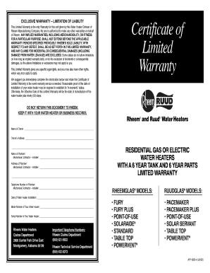 Certificate Of Limited Warranty
