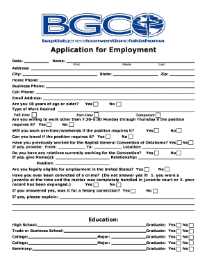 general application for employment printable