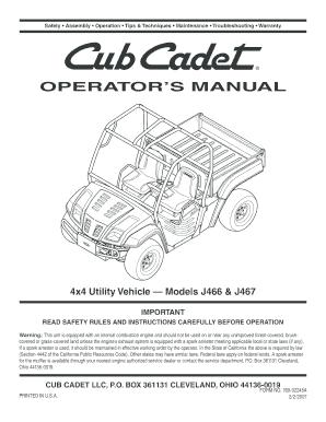fillable online cubcadet operators manual cub cadet cubcadet fax rh pdffiller com cub cadet operators manual online pdf cub cadet operators manual rzt series