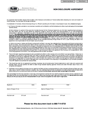 Non Disclosure Agreement Doc Fill Out Online Forms