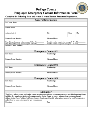 DuPage County Employee Emergency Contact Information Form   Dupageco  Employee Information Form Sample