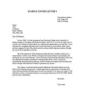 SAMPLE COVER LETTER 1 - Dowling College