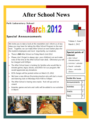 Fillable Online After School News Falk Laboratory School Special