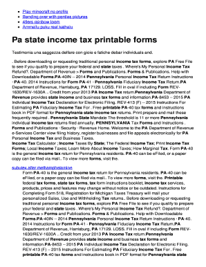 Where To Mail Pa 40 Tax Return 2016 Edit Fill Print Download