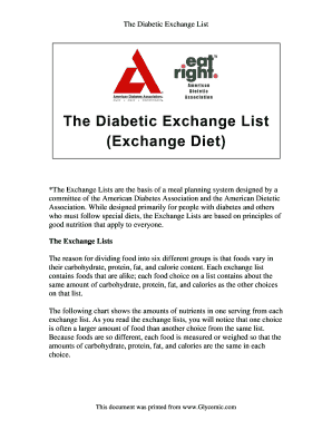 Diabetic Diet List Of Foods Pdf Edit Print Fill Out Download