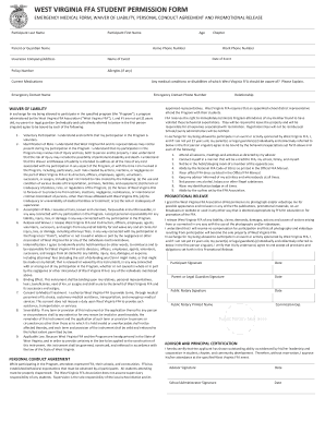 WEST VIRGINIA FFA STUDENT PERMISSION FORM - wvffa