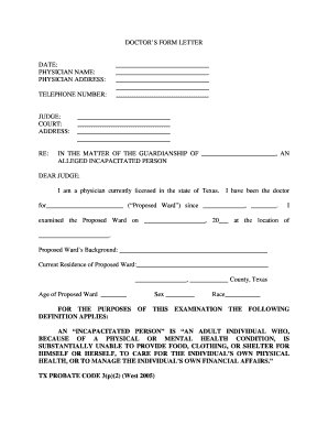 Printable doctor letter of incapacity california   Edit, Fill Out