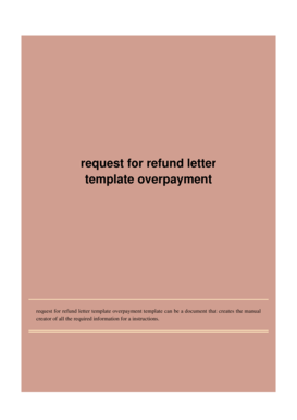 Fillable Online Request for refund letter template overpayment Fax ...
