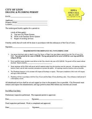 Iowa City Iowa Plumbing Permit