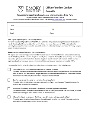 Printable disciplinary action letter for misconduct edit fill out brequestb to breleaseb disciplinary record binformationb to a third party altavistaventures Image collections