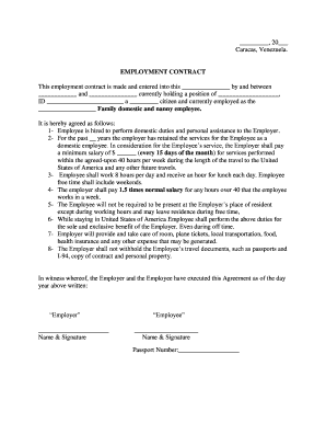 EMPLOYMENT CONTRACT Family domestic and nanny employee - photos state