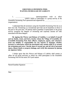 Fillable Online Greenhillsohio Pool Waiver And Release Of Liability Greenhills Ohio